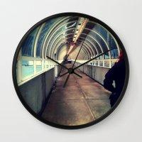 onward Wall Clocks featuring Onward Into The Tunnel Forbidden  by AJ Calhoun