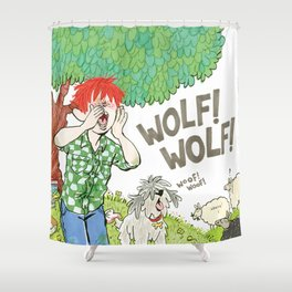 The Boy Who Cried Wolf Shower Curtain