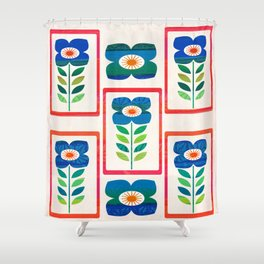 Folky Flowers Large Shower Curtain