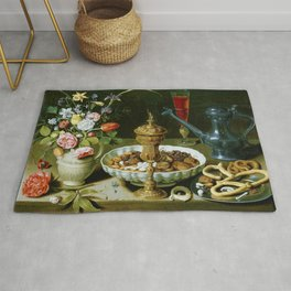 Clara Peeters Still Life with Flowers Goblet Dried Fruit & Pretzels Rug