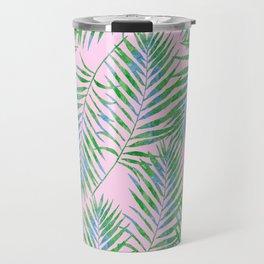 Fern Leaves Pink Travel Mug