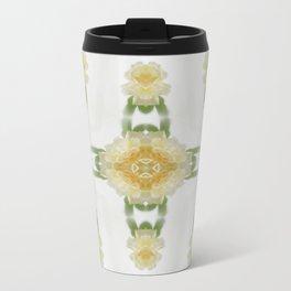 Creamy Yellow Rose Kaleidoscope Art 6 Travel Mug
