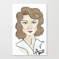 peggy carter Canvas Prints featuring Peggy Carter by Ash AROUH