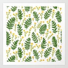 Ferns & Flowers Art Print