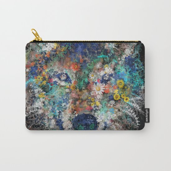 floral animals wolf 2 Carry-All Pouch