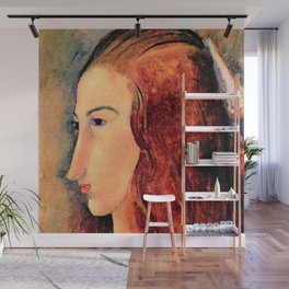 "Amedeo Modigliani ""Portrait of a young woman (Profile of Jeanne Hebuterne)"" Wall Mural"