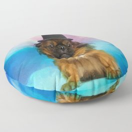Cute Pekingese dog with bow tie and hat Floor Pillow