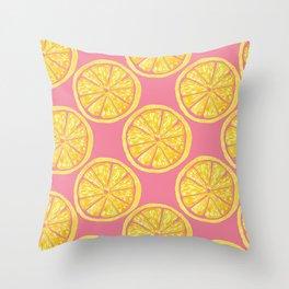 Lemon Slices  Yellow Watercolor Citrus Fruit on Pink   Renee Davis Throw Pillow