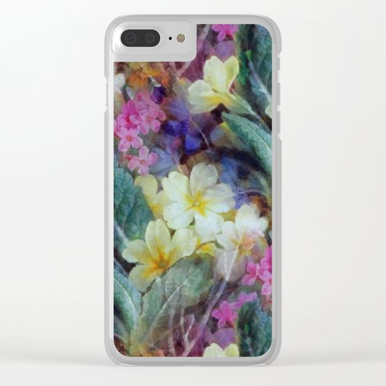 Pink yellow purple floral pattern Clear iPhone Case