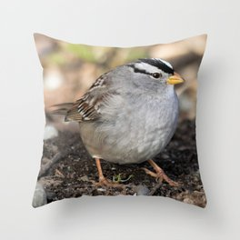 Profile of a White-Crowned Sparrow Throw Pillow
