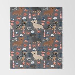 Dachshund nautical sailor dog pet portraits dog costumes dog breed pattern custom gifts Throw Blanket