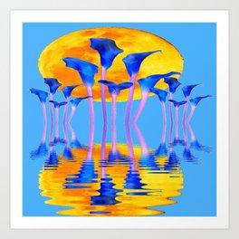 BLUE CALLA LILIES & MOON WATER GARDEN  REFLECTION Art Print