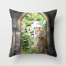 Jungle Tiger Waterfall Throw Pillow