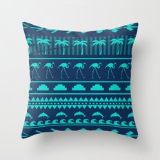 Eclectic Tribal Dolphin, Flamingo, and Palm Tree Throw Pillow