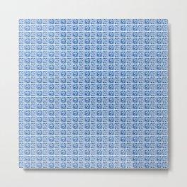Blue Fish Block Print Metal Print