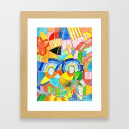 Happy Pattern with two Half Circles and one single Flower Framed Art Print