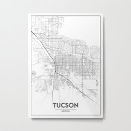 Minimal City Maps - Map Of Tucson, Arizona, United States Metal Print
