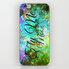 FLY ME TO THE MOON, REVISITED - Colorful Abstract Painting Space Typography Blue Green Galaxy Nebula iPhone & iPod Skin