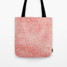 Peach echo and white swirls doodles Tote Bag