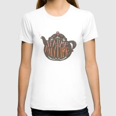 TEA TIME. ANY TIME. - color Womens Fitted Tee White MEDIUM