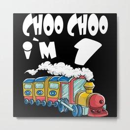 Choo Choo I'm 1 Children's Birthday Train Metal Print