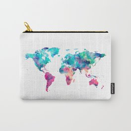 World Map Turquoise Pink Blue Green Carry-All Pouch