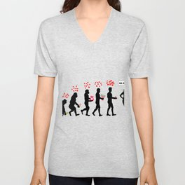 Human Evolution Love Story Unisex V-Neck