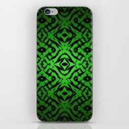 Green tribal shapes pattern iPhone Skin