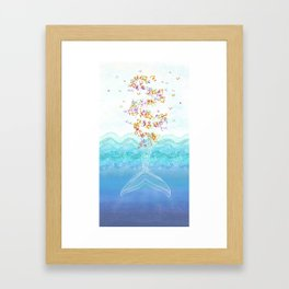 Flying whale Framed Art Print