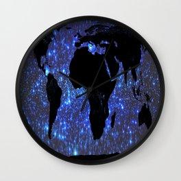 World Map : Blue Galaxy Stars Wall Clock