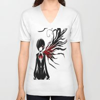 tokyo ghoul V-neck T-shirts featuring tokyo ghoul  Touka by Lee Chao Charlie Vang