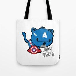 Superhero Cat Catp'n America Cute Kitten Tote Bag