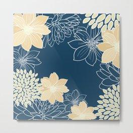 Floral Prints and Line Art, Teal and Gray Metal Print