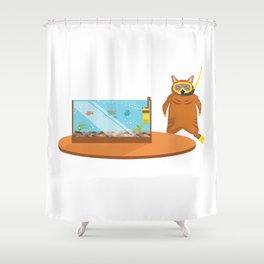 Cat Lover Kitten Feline Aquarium Aquarist Gift Shower Curtain