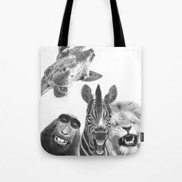 Black and White Jungle Animal Friends Tote Bag
