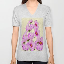 PINK COSMOS GARDEN FLOWERS ON CREAM COLOR Unisex V-Neck