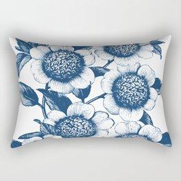 Blue Flowers Elegant Pattern Rectangular Pillow