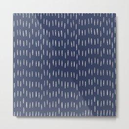 Boho Prints, Raindrops, Indigo Blue, Minimalism, Abstract Art Metal Print