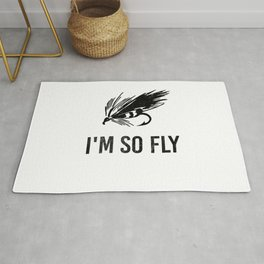 I'm So Fly Fishing Hook Flies Fisherman Gift Rug
