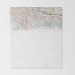 Vintage Map of Jersey City and Hoboken (1886) Throw Blanket