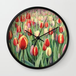 An oil painting on canvas of a spring seasonal theme. Colorful red, pink and yellow blooming tulips on display in Keukenhof Gardens, Netherlands. Wall Clock