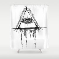 all seeing eye Shower Curtains featuring All Seeing Eye  by Emalee Røse