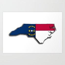 North Carolina Map with North Carolinian Flag Art Print