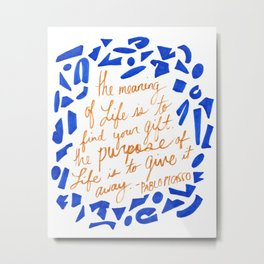 Picasso Quote in Cobalt and Gold Metal Print