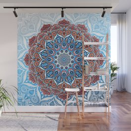 Hyper Detailed Dreamy Mandala in Blue and Red Wall Mural