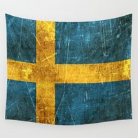 swedish Wall Tapestries featuring Vintage Aged and Scratched Swedish Flag by Jeff Bartels