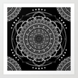 Black and White Geometric Mandala Art Print