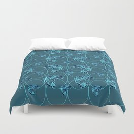 Chameleon Oneness in Midnight Vintage Psychedelic Blue Space Duvet Cover