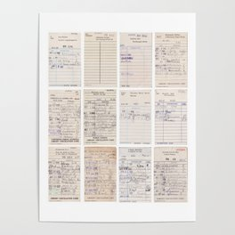 Old Friends Library Circulation Card Print Poster