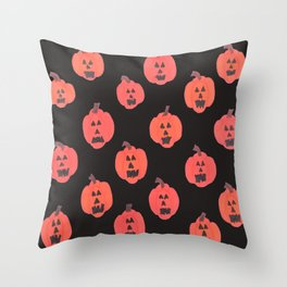 Halloween Jack-o-Lanterns on Black Throw Pillow